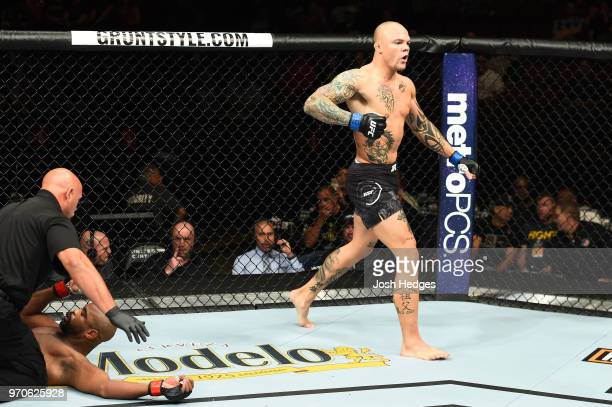 Anthony Smith celebrates after defeating Rashad Evans in their light heavyweight fight during the UFC 225 event at the United Center on June 9 2018...