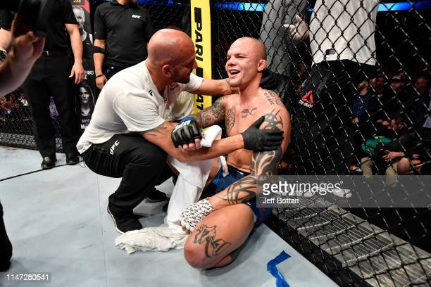 Anthony Smith celebrates his submission victory over Alexander Gustafsson of Sweden in their light heavyweight bout during the UFC Fight Night event...
