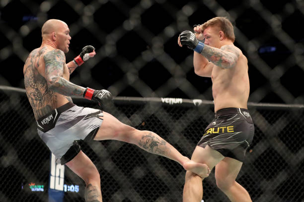 Anthony Smith of the United States kicks Jim Crute of Australia during UFC 261 at VyStar Veterans Memorial Arena on April 24, 2021 in Jacksonville,...