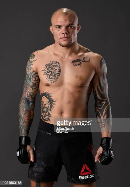 Anthony Smith poses for a portrait backstage after his victory over Volkan Oezdemir during the UFC Fight Night event inside Avenir Centre on October...