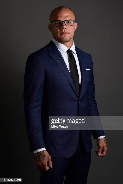 Anthony Smith poses for a portrait backstage prior to the UFC press conference inside the Orpheum Theater on August 3 2018 in Los Angeles California