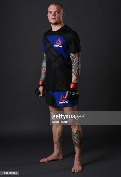Anthony Smith poses for a post fight portrait backstage during the UFC Fight Night event at Sprint Center on April 15 2017 in Kansas City Missouri