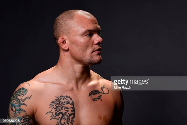 Anthony Smith poses for a post fight portrait backstage during the UFC 225 event at the United Center on June 9 2018 in Chicago Illinois