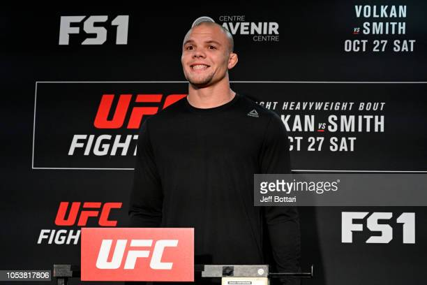 Anthony Smith poses on the scale during the UFC Fight Night weighin at Delta Hotels by Marriott Beausejour on October 26 2018 in Moncton New...
