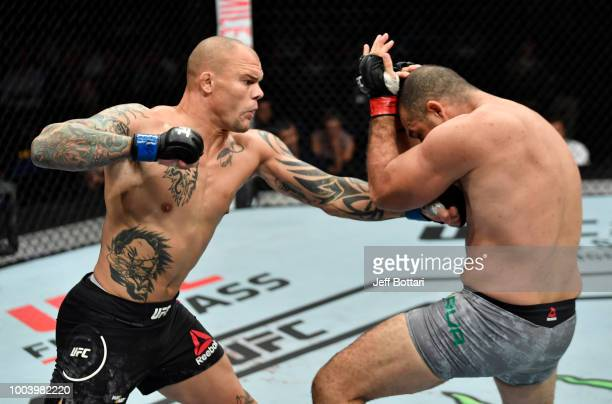 Anthony Smith punches Mauricio Rua of Brazil in their light heavyweight bout during the UFC Fight Night at Barclaycard Arena on July 22 2018 in...