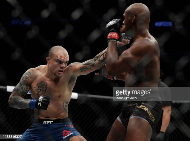 Anthony Smith throws a punch during a light heavyweight title bout against Jon Jones during UFC 235 at TMobile Arena on March 02 2019 in Las Vegas...