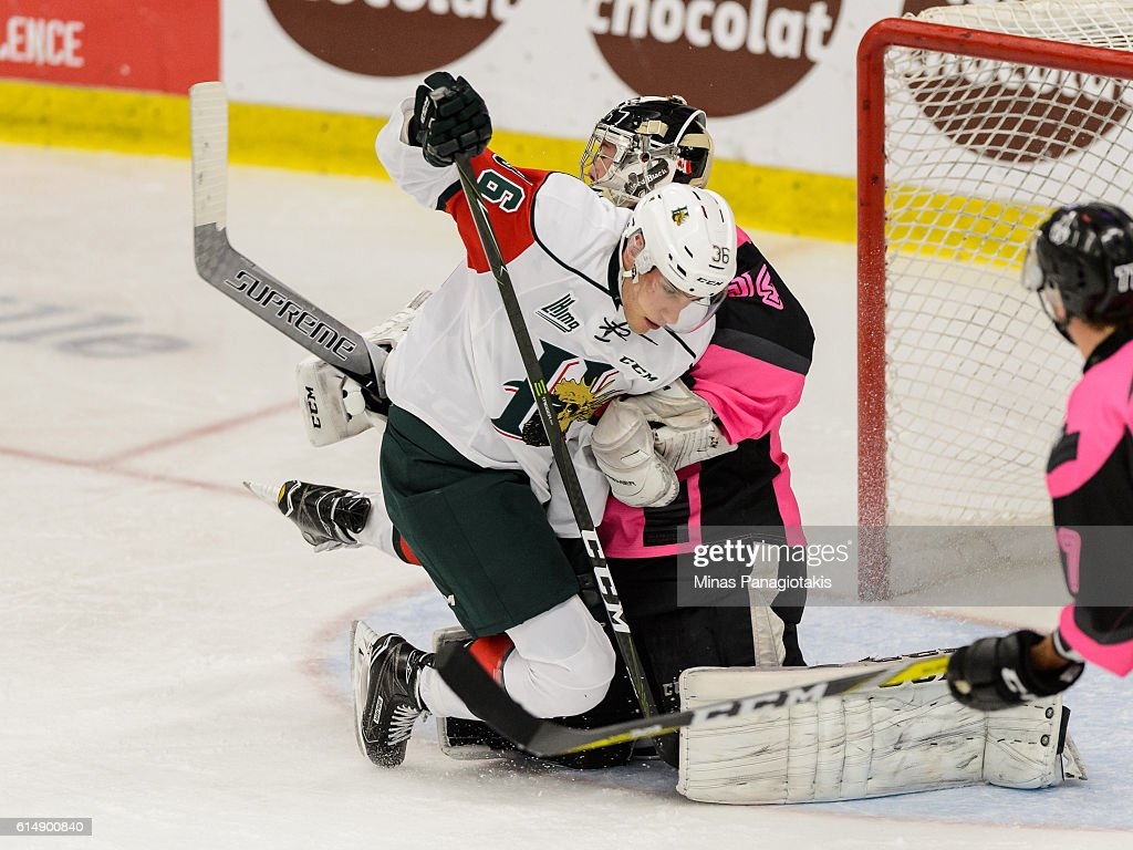 Anthony Sorrentino #36 of the Halifax Mooseheads crashes into goaltender Francis Leclerc #34 of the Blainville-Boisbriand Armada during the QMJHL game at the Centre d'Excellence Sports Rousseau on October 15, 2016 in Boisbriand, Quebec, Canada.