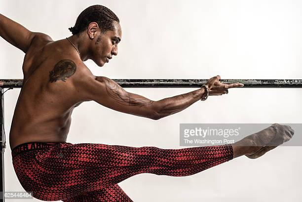 Anthony Spaulding a dancer from the San Francisco Ballet shows off his tattoos