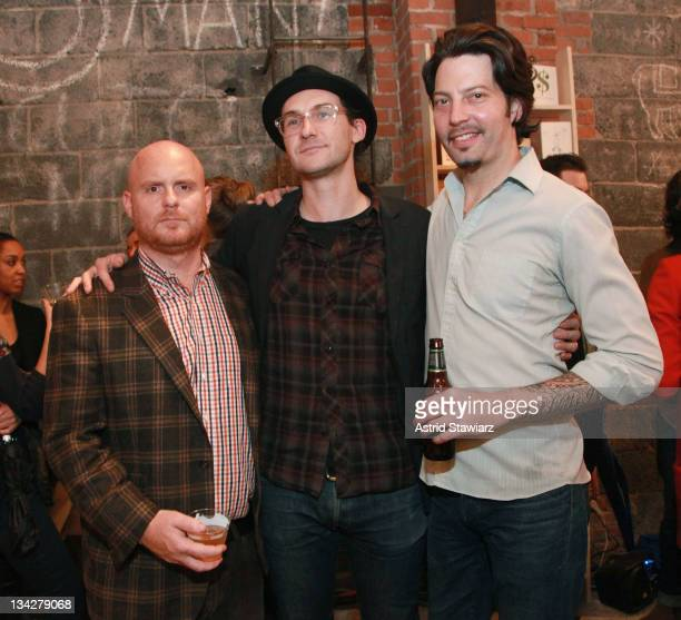 Anthony Sperduti Benjamin Palmer and Sam Mason attend Warby Parker's holiday spectacle bazaar leftover launch on November 29 2011 in New York City