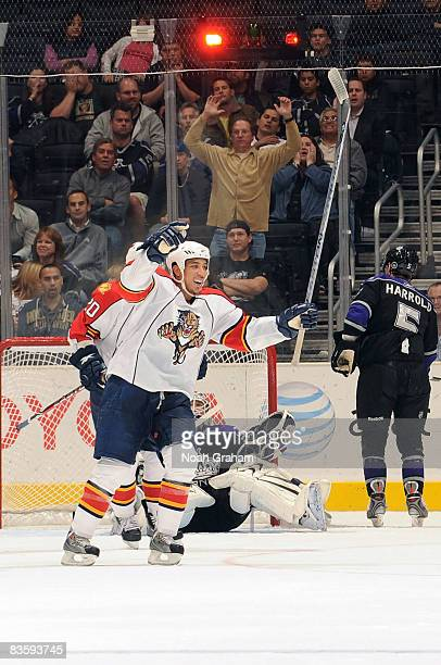 Anthony Stewart of the Florida Panthers celebrates a third period goal he assisted on against the Los Angeles Kings during the game at Staples Center...