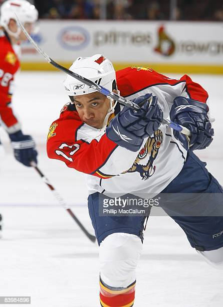 Anthony Stewart of the Florida Panthers skates during warmup prior to their NHL game against the Ottawa Senators on December 8 2008 at the Scotiabank...