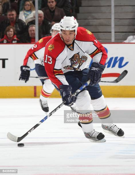 Anthony Stewart of the Florida Panthers stickhandles the puck against the Ottawa Senators at Scotiabank Place on December 8 2008 in Ottawa Ontario...