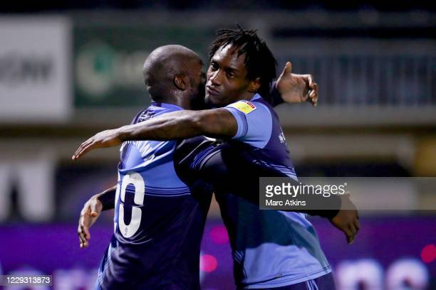 Anthony Stewart of Wycombe Wanderers celebrates his goal with Adebayo Akinfenwa during the Sky Bet Championship match between Wycombe Wanderers and...