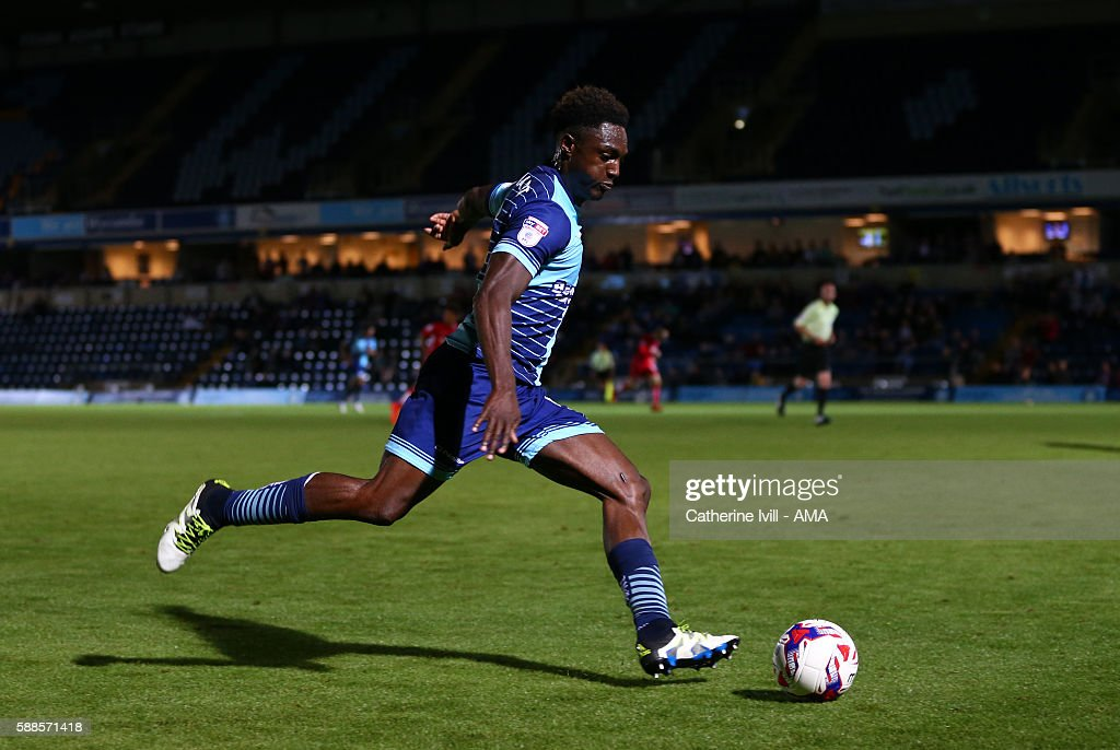 Anthony Stewart of Wycombe Wanderers during the EFL Cup match between Wycombe Wanderers and Bristol City at Adams Park on August 8, 2016 in High Wycombe, England.