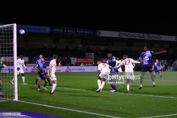 Anthony Stewart of Wycombe Wanderers scores a goal to make it 1-1 during the Sky Bet Championship match between Wycombe Wanderers and Watford at...