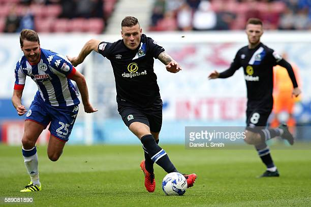 Anthony Stokes of Blackburn Rovers gets away with the ball during the Sky Bet Championship League match between Wigan Athletic and Blackburn Rovers...