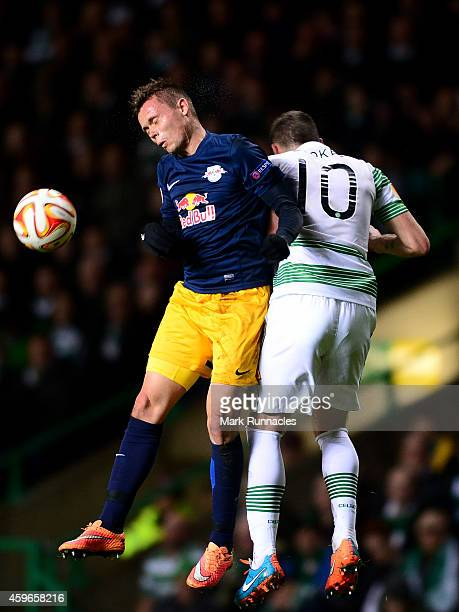 Anthony Stokes of Celtic and Stefan Ilsanker of FC Salzburg challenge during the UEFA Europa League group D match between Celtic FC and FC Salzburg...