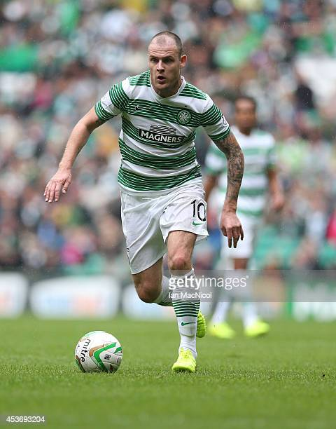 Anthony Stokes of Celtic controls the ball during the Scottish Premiership League Match between Celtic and Dundee United at Celtic Park on August 16...
