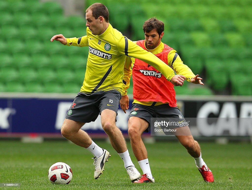Anthony Stokes of Celtic dribbles the ball during a Glasgow Celtic training session at AAMI Park on July 12, 2011 in Melbourne, Australia.