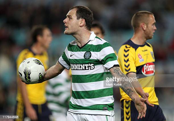 Anthony Stokes of Celtic shows his frustration during the international friendly club match between the Central Coast Mariners and Glasgow Celtic at...