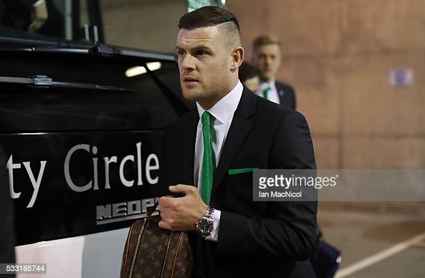 Anthony Stokes of Hibernian arrives at the stadium during the Scottish Cup Final between Rangers and Hibernian at Hampden Park on May 21 2016 in...