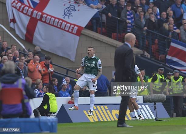 Anthony Stokes of Hibernian celebrates scoring a goal early in the first half with his team mates during the William Hill Scottish Cup Final between...
