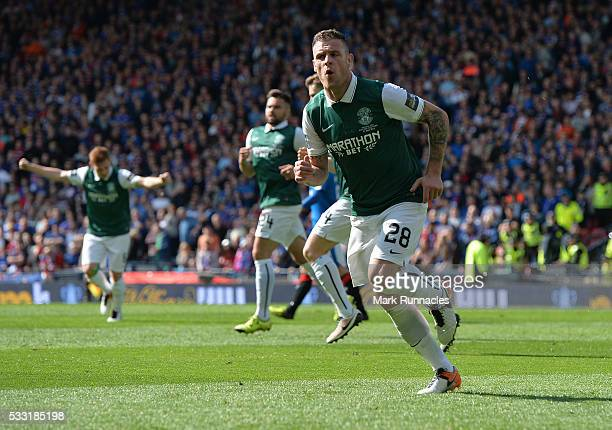Anthony Stokes of Hibernian celebrates scoring a goal in the second half with his team mates during the William Hill Scottish Cup Final between...