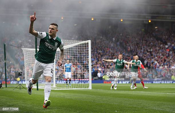 Anthony Stokes of Hibernian celebrates scoring during the Scottish Cup Final between Rangers and Hibernian at Hampden Park on May 21, 2016 in...