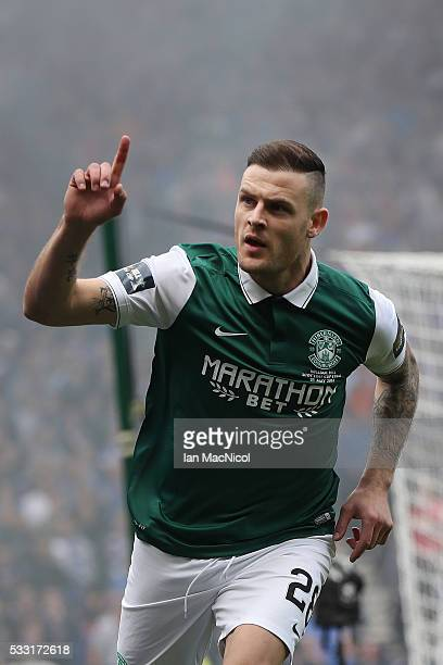 Anthony Stokes of Hibernian celebrates scoring during the Scottish Cup Final between Rangers and Hibernian at Hampden Park on May 21 2016 in Glasgow...