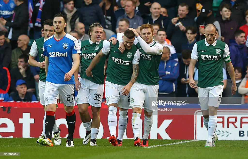 Anthony Stokes of Hibernian is congratulated on scoring Hibernians second goal during the Scottish Championship match between Hibernian and Rangers at Easter Road on April 20, 2016 in Edinburgh, Scotland.