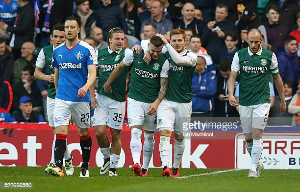 Anthony Stokes of Hibernian is congratulated on scoring Hibernians second goal during the Scottish Championship match between Hibernian and Rangers...