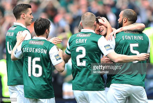 Anthony Stokes of Hibernian is congratulated on scoring on during the Scottish Cup Final between Rangers and Hibernian at Hampden Park on May 21 2016...