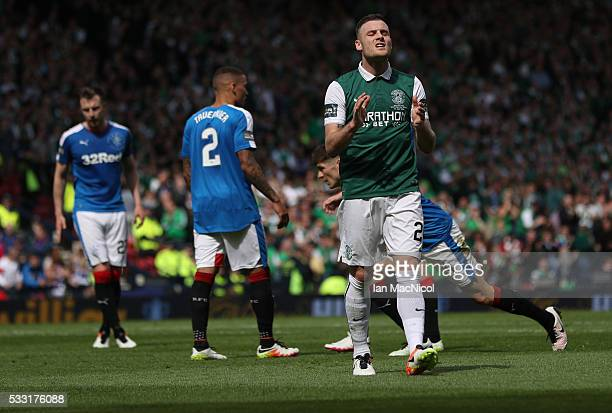Anthony Stokes of Hibernian reacts during the Scottish Cup Final between Rangers and Hibernian at Hampden Park on May 21 2016 in Glasgow Scotland