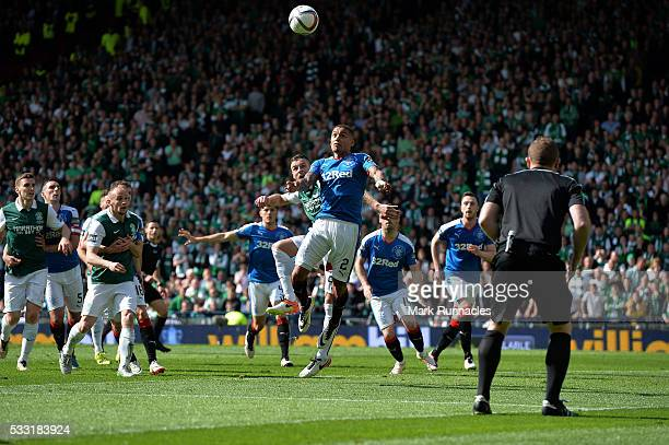 Anthony Stokes of Hibernian scores a late equalising goal in the second half with his team mates during the William Hill Scottish Cup Final between...