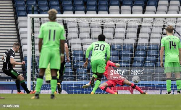 Anthony Stokes of Hibernian scores from the penalty spot during the Betfred Cup SemiFinal at Hampden Park on October 21 2017 in Glasgow Scotland