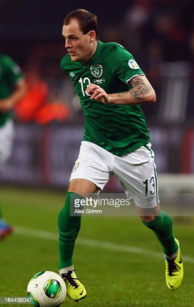 Anthony Stokes of Ireland controles the ball during the FIFA 2014 World Cup Group C qualifiying match between Germany and Republic of Ireland at...