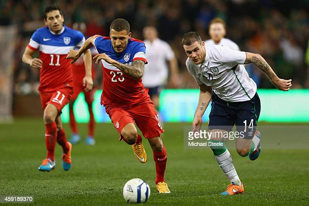 Anthony Stokes of Ireland takes on Fabian Johnson of USA during the International Friendly match between the Republic of Ireland and USA at the Aviva...