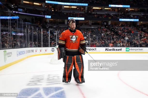 Anthony Stolarz of the Anaheim Ducks at Honda Center on October 15, 2021 in Anaheim, California.