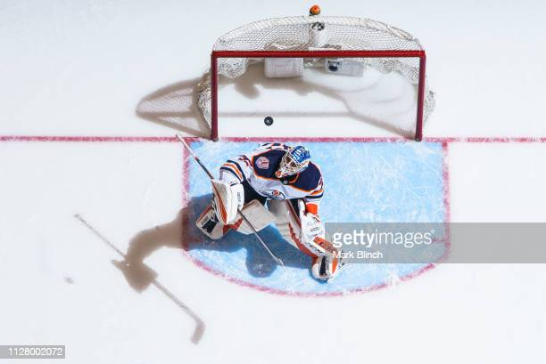Anthony Stolarz of the Edmonton Oilers deflects a puck against the Toronto Maple Leafs during the third period at the Scotiabank Arena on February 27...