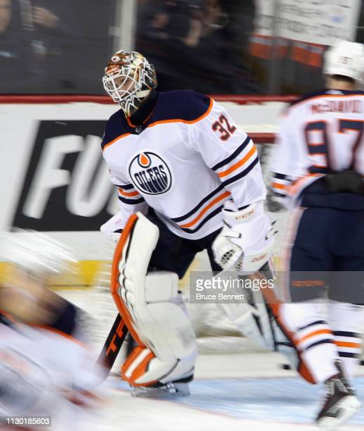 Anthony Stolarz of the Edmonton Oilers skates in warmups prior to the game against the New York Islanders at the Barclays Center on February 16 2019...