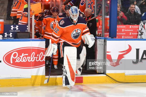 Anthony Stolarz of the Edmonton Oilers steps onto the ice prior to the game against the Toronto Maple Leafs on March 9 2019 at Rogers Place in...