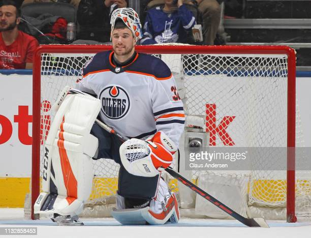 Anthony Stolarz of the Edmonton Oilers takes a breather against the Toronto Maple Leafs during an NHL game at Scotiabank Arena on February 27 2019 in...