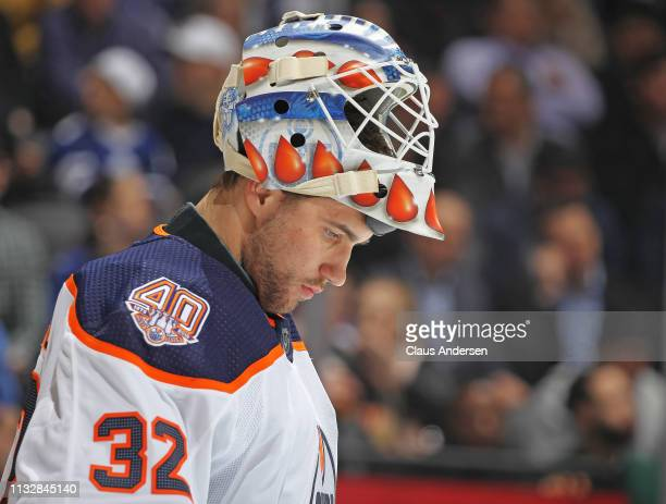 Anthony Stolarz of the Edmonton Oilers waits for play to resume against the Toronto Maple Leafs during an NHL game at Scotiabank Arena on February 27...