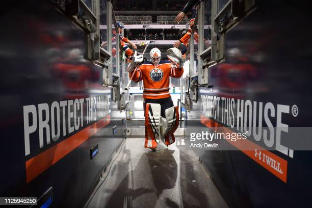 Anthony Stolarz of the Edmonton Oilers walks to the dressing room prior to the game against the Arizona Coyotes on February 19 2019 at Rogers Place...
