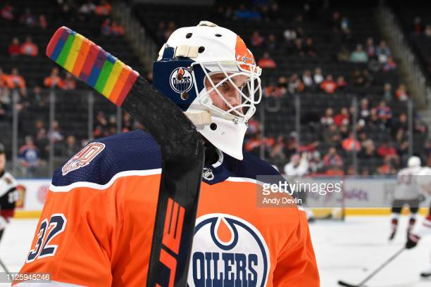 Anthony Stolarz of the Edmonton Oilers warms up prior to the game against the Arizona Coyotes on February 19 2019 at Rogers Place in Edmonton Alberta...
