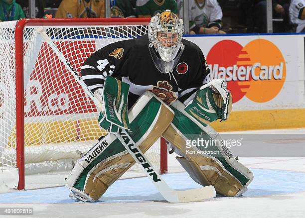 Anthony Stolarz of the London Knights gets set to face a shot against the Val'Dor Foreurs in Game One of the 2014 Mastercard Memorial Cup at the...