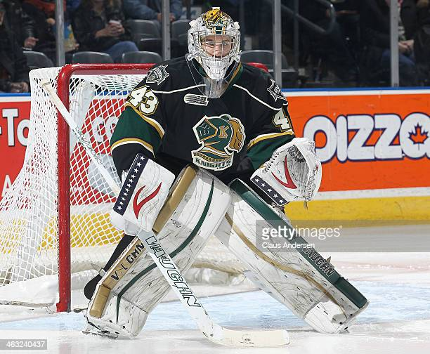 Anthony Stolarz of the London Knights watches for a shot against the Kitchener Rangers during an OHL game at the Budweiser Gardens on January 16 2014...