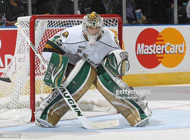 Anthony Stolarz of the London Knights watches for a shot against the Edmonton Oil Kings in Game Three of the 2014 MasterCard Memorial Cup at...