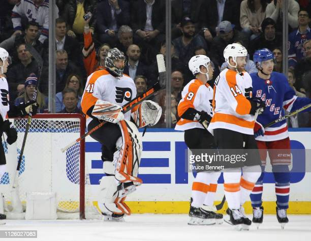 Anthony Stolarz of the Philadelphia Flyers celebrates his 10 shutout against the New York Rangers at Madison Square Garden on January 29 2019 in New...