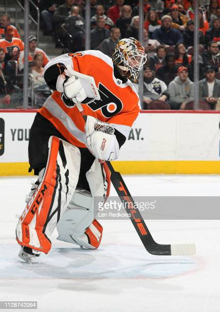 Anthony Stolarz of the Philadelphia Flyers completes a pass against the Los Angeles Kings on February 7 2019 at the Wells Fargo Center in...